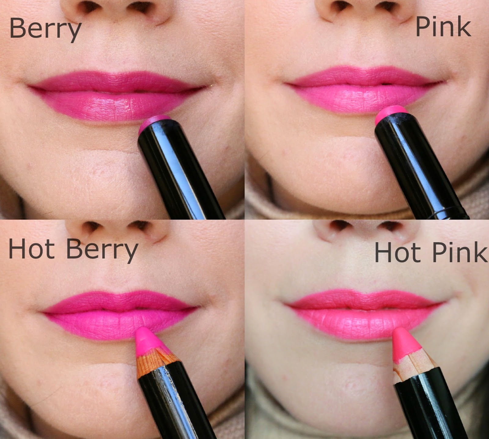 Bobbi Brown Hot Collection lip swatches for fair skin