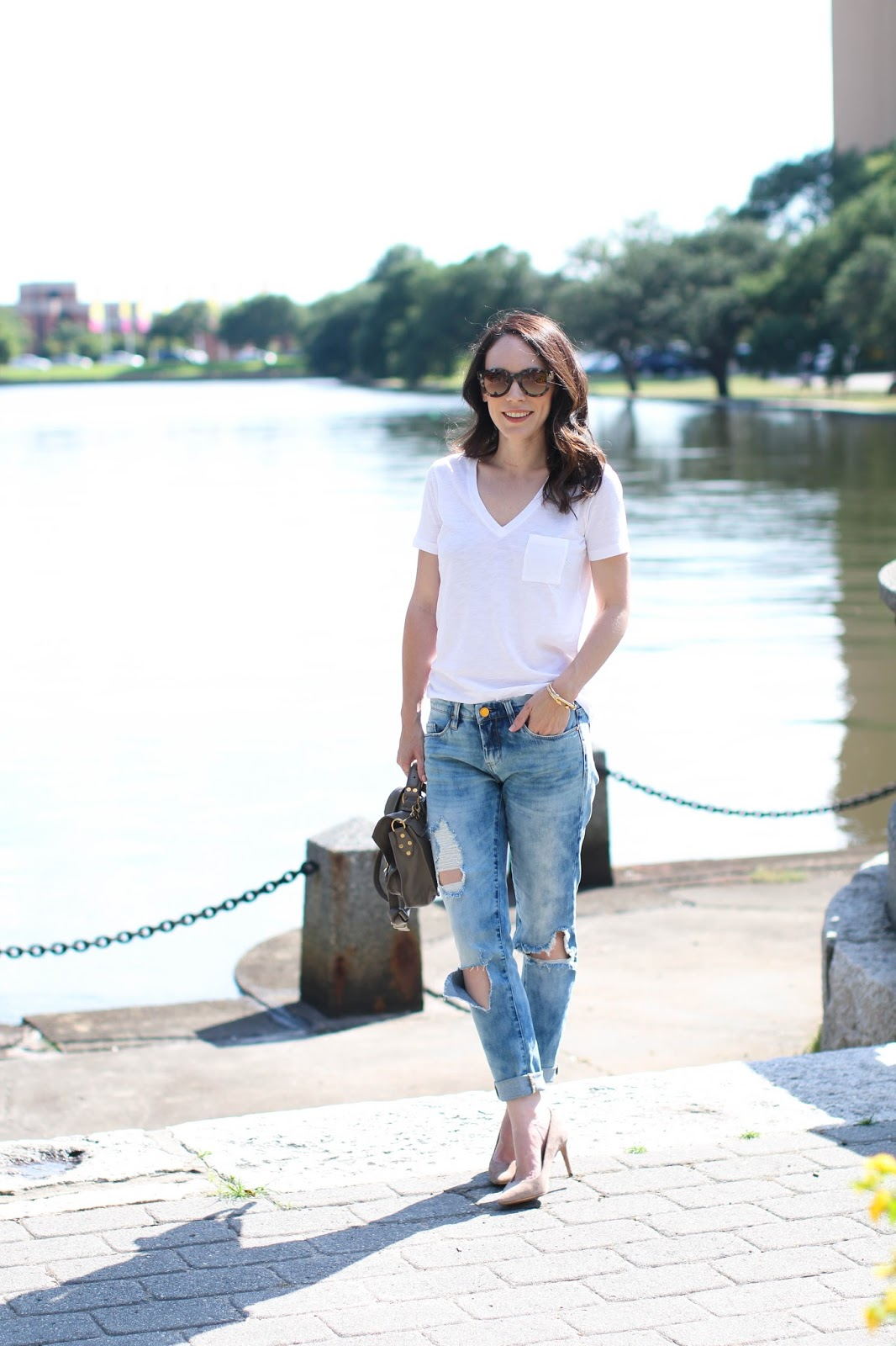 boyfriend jeans and a white tee